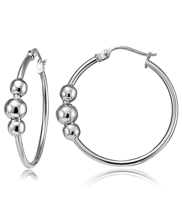 Sterling Silver- Yellow Gold Flash or Rose Gold Flash Triple Bead Round Hoop Earrings- One Pair Set - C212F5E88VF