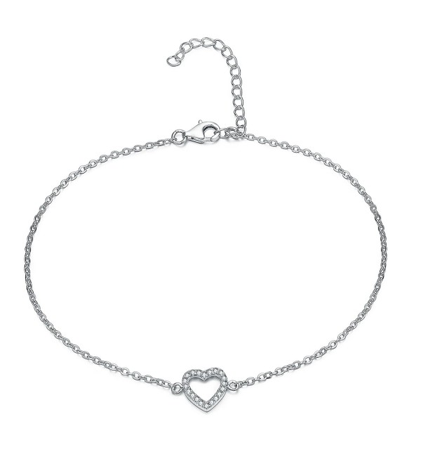 UK Sreema Elegant Heart Anklet With Micro Pave Aaa Zircon- Sterling Silver Anklet Adjustable - CL126H394JX