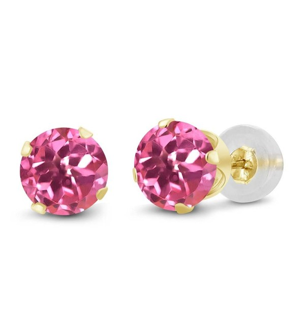 10K Yellow Gold Mystic Pink Topaz Stud Earrings (2.00 cttw- 6MM Round Cut) - CI116LNI2GV