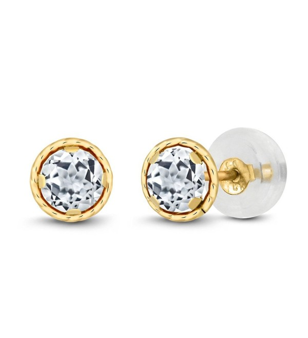 14K Yellow Gold White Topaz Gemstone Birthstone Stud Earrings (0.66 cttw- Round 4mm) - CY11EEV8VR7