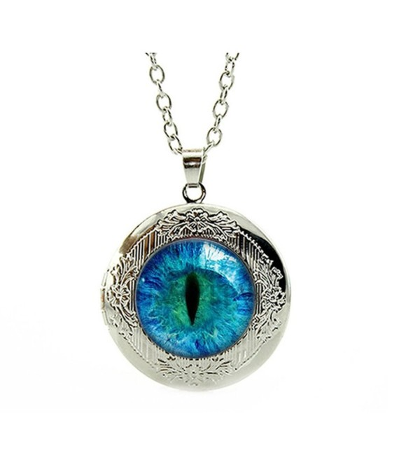 "Dragon Eye Engraved Locket Pendant Necklace 18"" - Mother's Day Sale - CF188SAR0Z2"