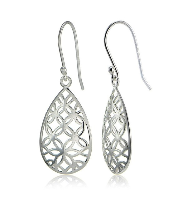 Sterling Silver Filigree Floral Design Teardrop Earrings - CF12O20OYJ7