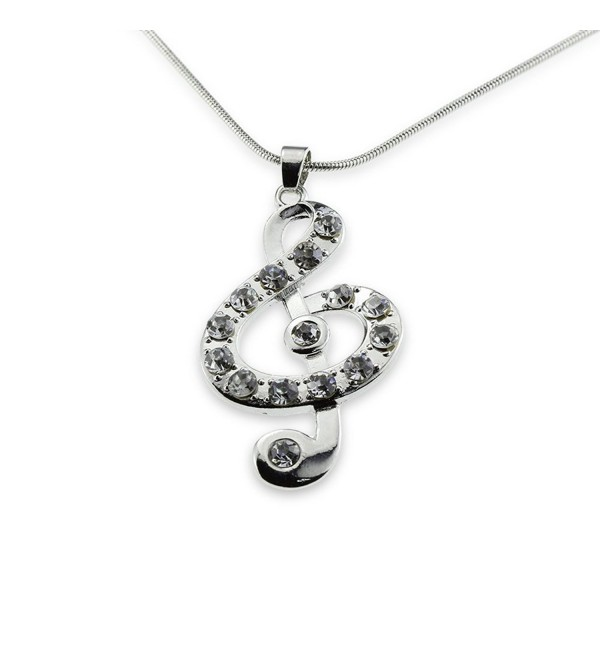 Silver Music Note Treble Clef Pendant Mood Necklace Jewelry Best Christmas Gift for Teen Girl Women - CO11R3HJ6IH