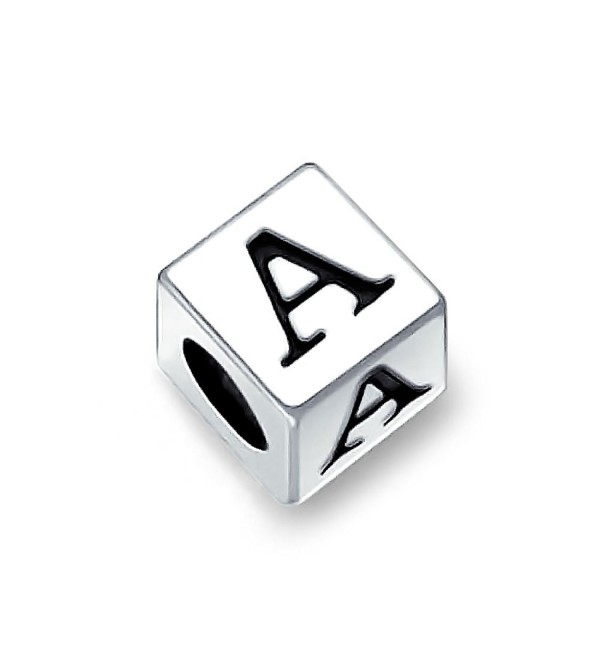 Bling Jewelry 925 Sterling Silver Block Letter A Initial Bead Charm - CV1156618UV