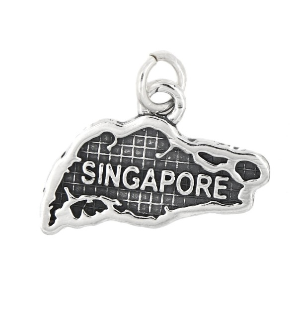 Sterling Silver Oxidized Map of Singapore Travel Charm - CT12DTWF8PJ