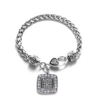 Bingo Classic Silver Plated Square Crystal Charm Bracelet - CR11MV49WJP