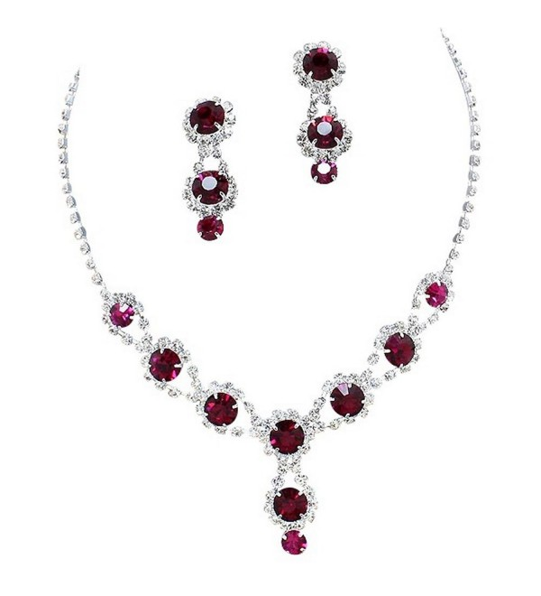 Stunning Y Drop Evening Party Raspberry Wine Bridal Necklace Earring Rhinestone Bling B4 - CN11FABQKXB