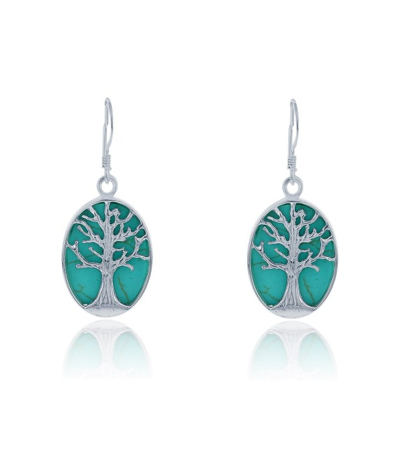 Sterling Silver Natural Turquoise Earrings - Turquoise - CK1297DGUAZ