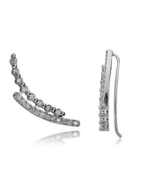 Sterling Silver Cubic Zirconia Double Curve Crawler Climber Hook Earrings - Sterling Silver - C612KLE0XZN
