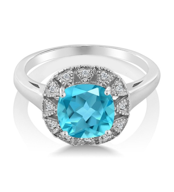 2.75 Ct Cushion Cut Checkerboard Swiss Blue Topaz And White Diamond 925 Sterling Silver Engagement Ring - CA12N8UQJPM