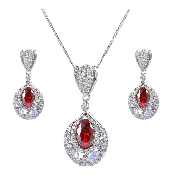 EVER FAITH Silver-Tone CZ Wedding Flower Bud Tear Drop Pendant Necklace Earrings Set Red Ruby-Color - CT129IW0PMZ