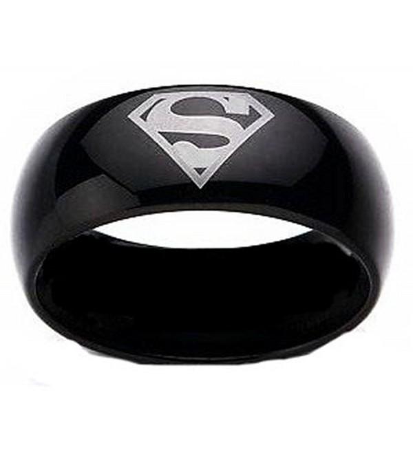 Superman Print Black Tungsten Carbide DC Width 8 mm Band Ring R161 Size 4 - 13 - CM116XLSUB3