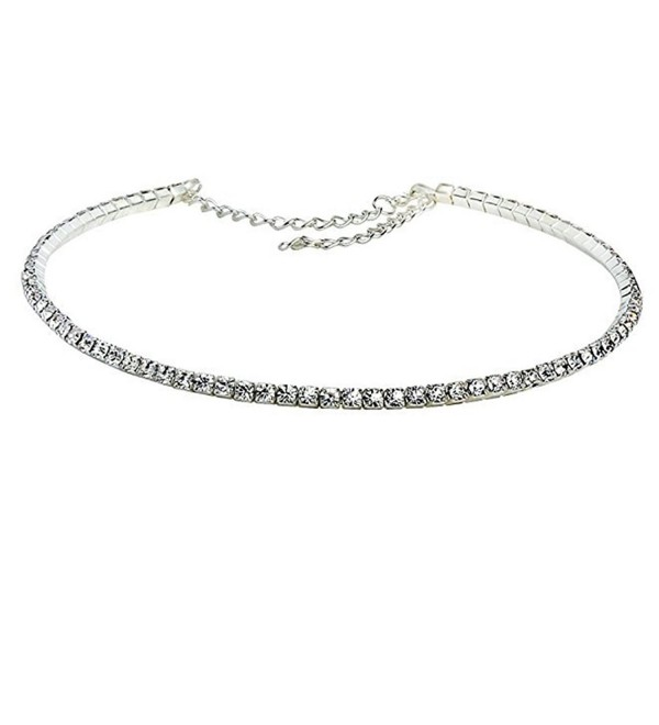 "Rhinestone Choker 1 3 4 5 Row Silver by iShine - Women's Crystal Necklace Diamond Collar with 5"" Extender - CZ17YSE5ZIL"
