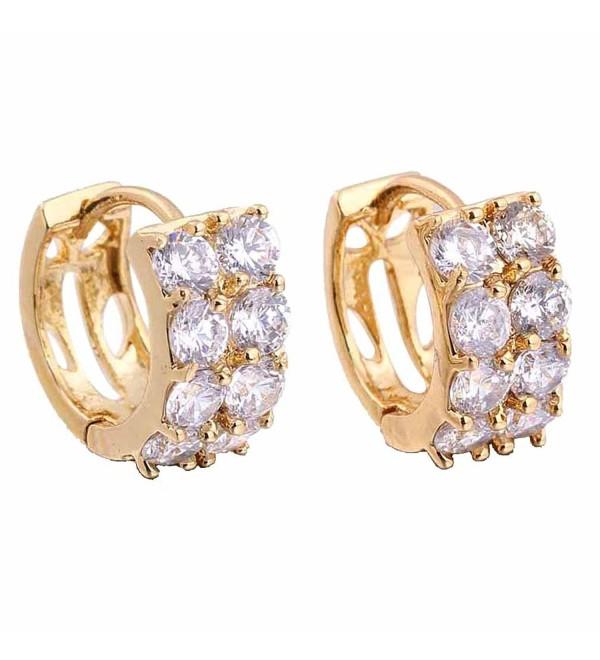 YAZILIND 18k Gold Plated Hollow Round Clear Cubic Zirconia Small Hoop Earrings - CF11METV8WV