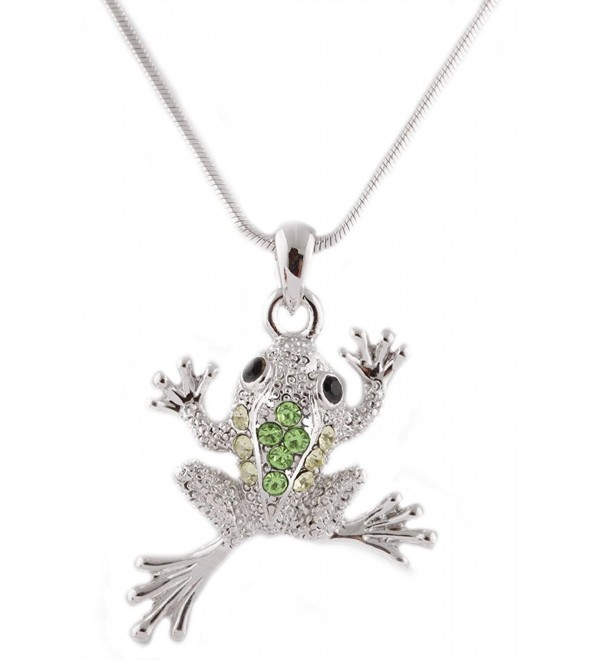 Silvertone with Green Iced Out Frog Pendant with an 18 Inch Snake Franco Chain Necklace (B-744) - C911D617QIB
