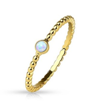 Synthetic Opal Gold Plated Braided Stackable Ring/Mid Ring - CW12K5DWTKH