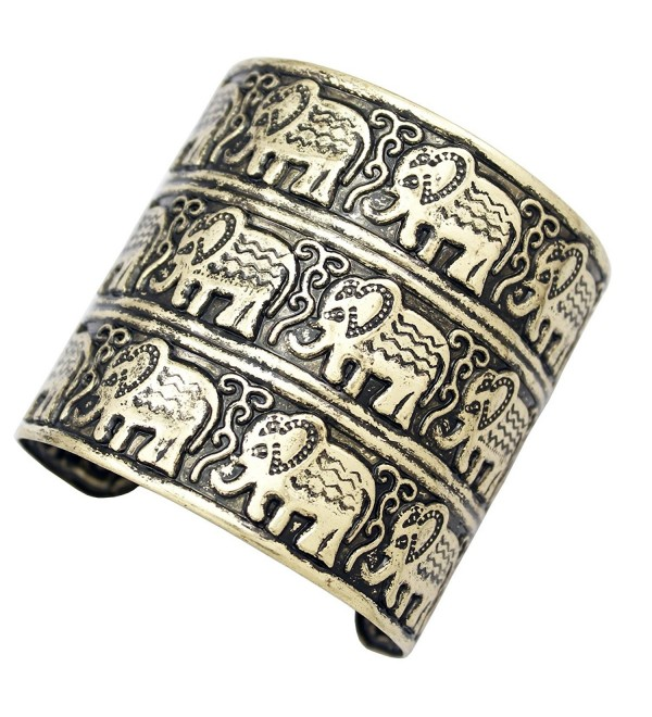 Q&Q Fashion Egypt African Embossed Vintage Elephant OM Hindu Ganesha Bracelet Bangle Cuff - C817YUXH7OX