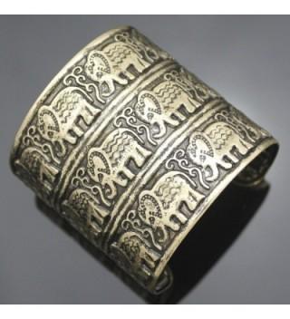 Fashion African Embossed Elephant Bracelet in Women's Cuff Bracelets