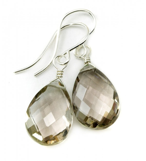 Sterling Silver Smoky Quartz Earrings Faceted Pear Smokey Teardrops Dangles - C811F4G4C6Z