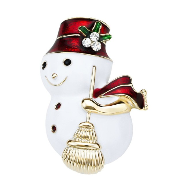LY8 Christmas Brooch Pin for Women Girls Gold Tone Crystal Enamel Snowman Brooch - CT18597SMD5