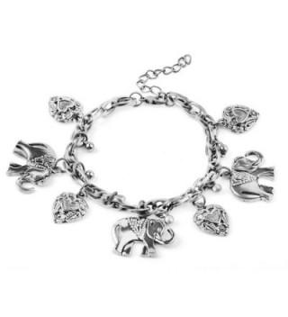 Bracelets- Susenstone Vintage Elephant Heart Pendant Bracelets - Silver - C012O8G72QC