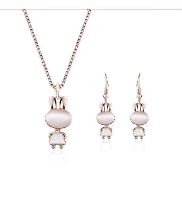 Yonteia Jewelry Set Rose Gold rabbit Pendant Necklace and Earrings Valentine's Day Gifts For Women - CI187KEYTKL