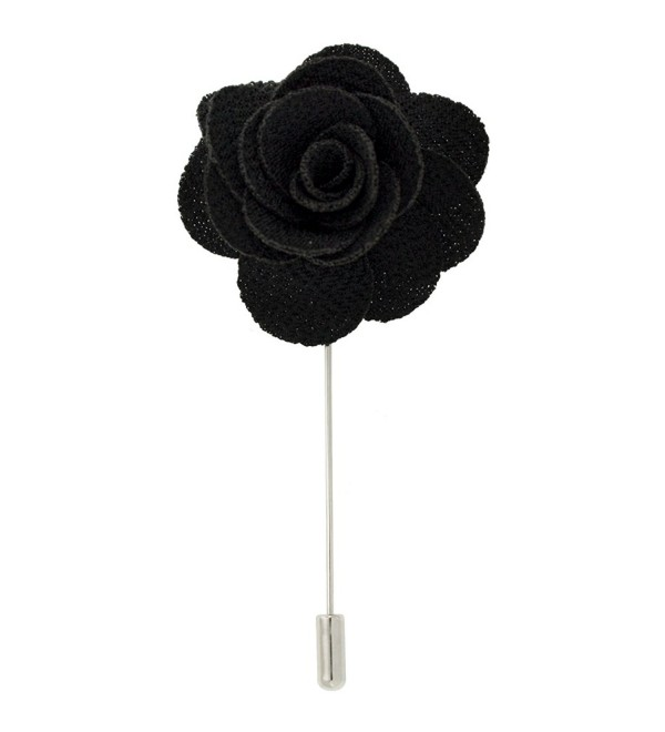 PinMart's Cloth Flower Stick Boutonniere Lapel Pins - Select your color - Black - C612C37PAR1