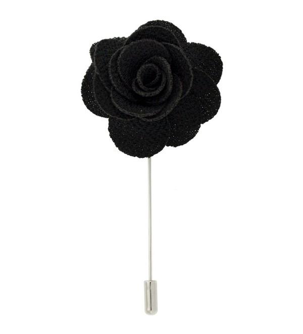 PinMart's Cloth Flower Stick Boutonniere Lapel Pins - Select your color - Black - C612C37PAR1