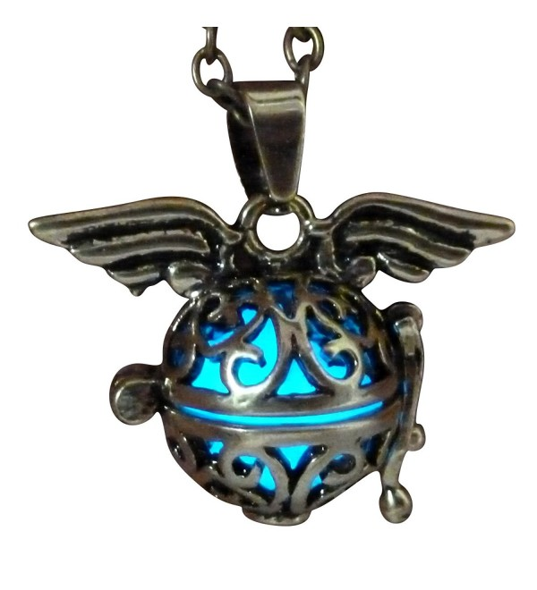 Steampunk fairy necklace Blue glow in the dark gold tone wings by Umbrellalaboratory - CK12EVQO8OJ