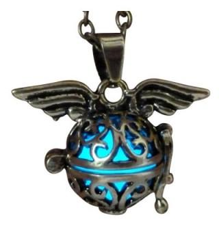 Steampunk fairy necklace Blue glow in the dark gold tone wings by Umbrellalaboratory - CK12EVQO8OJ