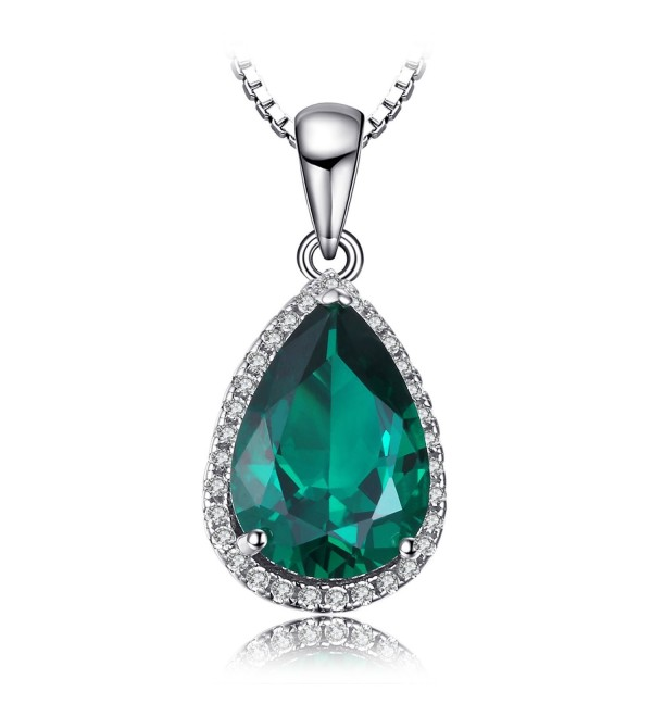 JewelryPalace Pear 3.7ct Simulated Green Nano Russian Emerald Pendant Necklace 925 Sterling Silver 18 Inches - C112GOONUH7
