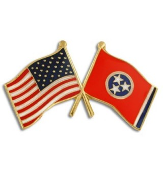 PinMart's Tennessee and USA Crossed Friendship Flag Enamel Lapel Pin - CL119PEM0GL