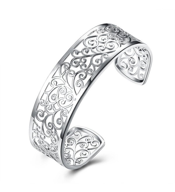 925 Sterling Silver Bangle Bracelet- HTOMT Fashion Simple Open Bangles Cuff Jewelry for Women - 1 - C5187OIC862