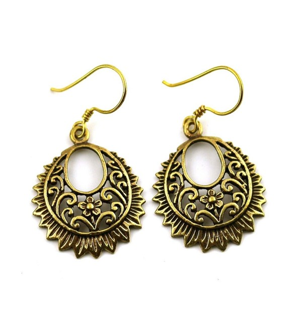 Bronze Filigree Earrings Flower Vine Drop Dangle Fish Hook Vintage Thailand Jewelry - C412DTUHNC7