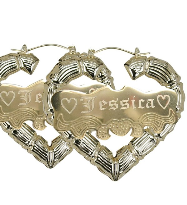 "Personalized Gold Heart shape Hoop Name Earrings 2.2"" Custom Made with Any Names - CM1847KETR6"