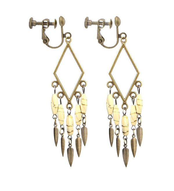 Handicrafts Bohemian Vintage White Beaded Clip on Earrings No Pierced Long Tassel Dangle for Girls Women - CP185SH47CL