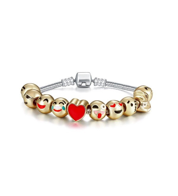 Eccosa 18K Gold Plated With Enamel Faces Women Charms Bracelet Lover Gift - C412N1BQLVA