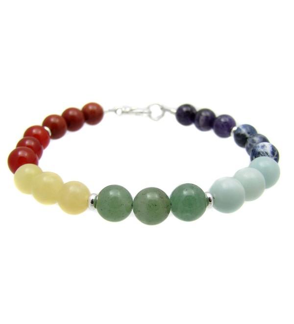 "Chakra Energy Bracelet- 7 Chakras Balancing Gemstone Beaded- 7 3/4""- Chakra Reiki Yoga Jewelry - CP1145ACJOR"