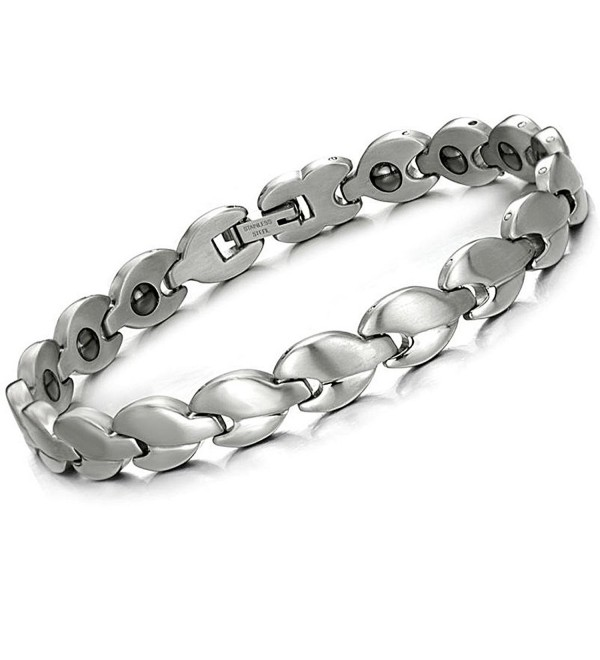 Brand New Lady's Titanium Stainless Steel Magnetic Bracelet Anti-fatigue Anti-radiation in a Gift Box - CE11034VTKF
