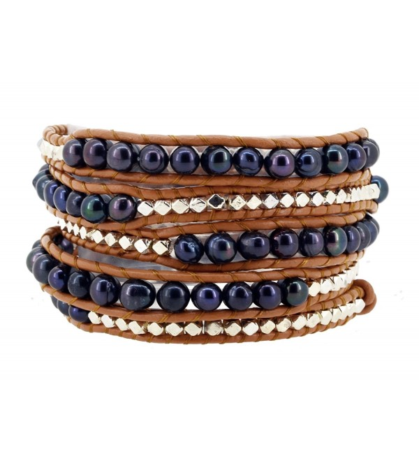 Long Dyed Black Freshwater Cultured Pearl Silver Tone Alloy Beaded Wrap Bracelet- 40 Inches - CT125WHR8FH