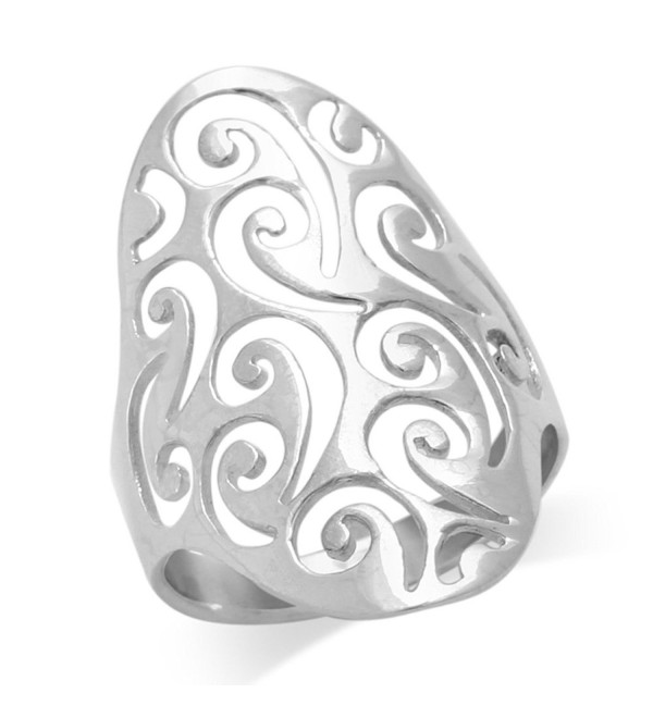 MIMI Sterling Silver Large Long 30MM Filigree Swirl Ring - CL119XW0VCZ