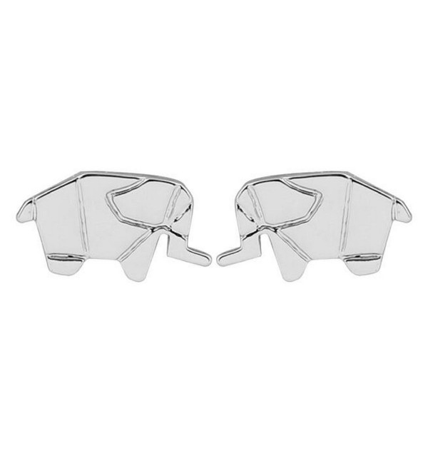Elephant Stud Earrings: Gift Ready- Packaged in Black Pouch - Boho Chic Accessories - Silver - C1189X50TO9