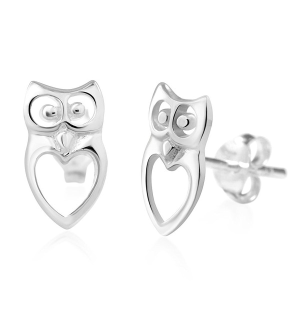 925 Sterling Silver Cut Open Owl Heart Love Post Stud Earrings - CC11MPQWCGJ