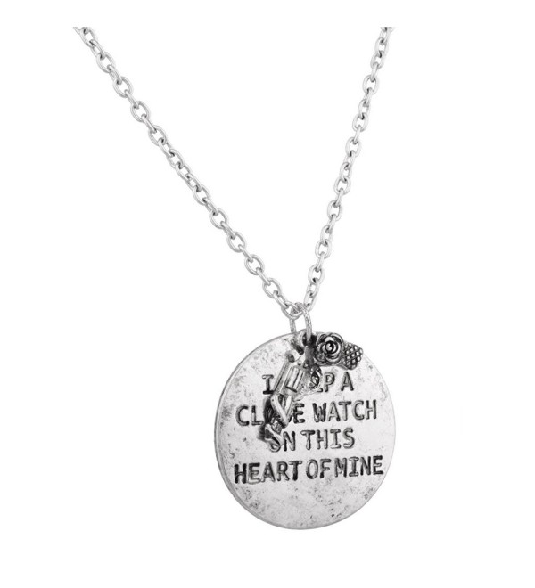 Lux Accessories I Keep A Close Watch On This Heart Of Mine Gun Rose Flower Inspiration Necklace. - CQ11V1OL6NV
