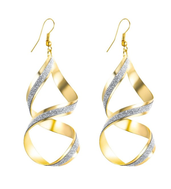 S&Moon Bling Evening Spiral Twist Drop Dangle Earrings for Women - Gold - C7184SNR5YL
