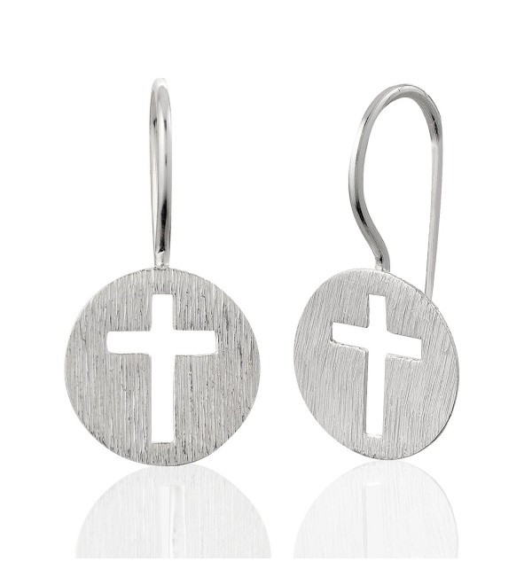925 Sterling Silver Matte Finish Endless Circle Symbolic Christian Cross Charm Drop Dangle Earrings - CX11IY2V2N7
