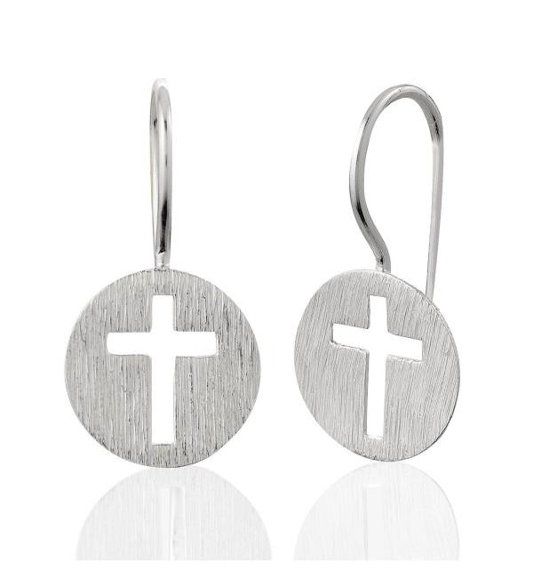 925 Sterling Silver Matte Finish Endless Circle Symbolic Christian Cross Charm Drop Dangle Earrings - CX11IY2V2N7