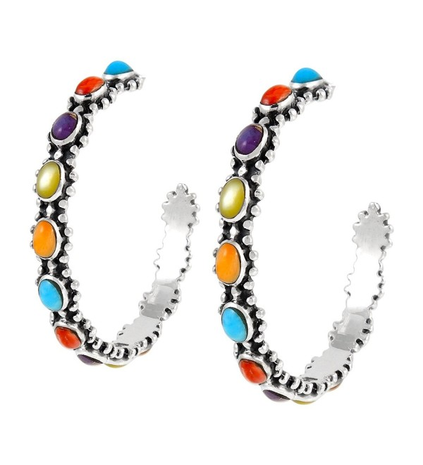 Hoop Turquoise Earrings in Sterling Silver Genuine Turquoise & Gemstones (Multi) - CI18C56TLKR