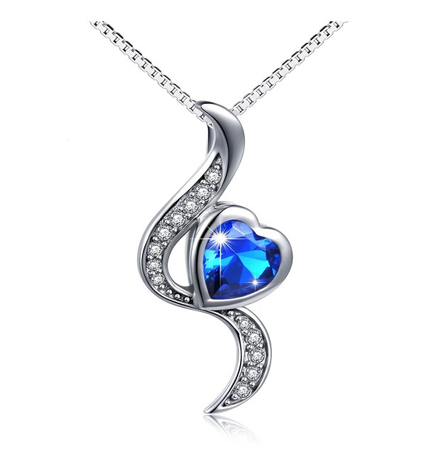 "S925 Sterling Silver Love Heart Pendant Necklace for Women 18"" - CN184S8T2ZX"