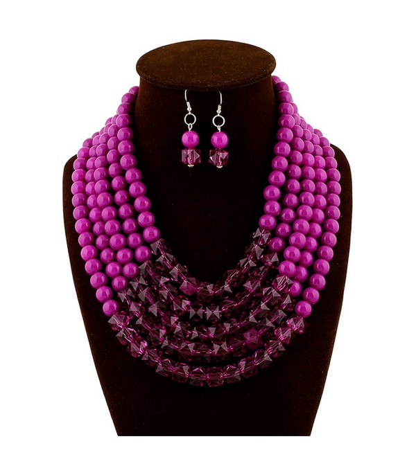 Fashion Trendy Multi-level Large Beads Beaded Charm Necklace Earrings Jewelry Set for Women - Purple - CQ1246PE63X
